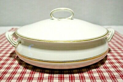 Antique VINTAGE Alfred Meakin Covered Casserole white w/gold c.1907-1914