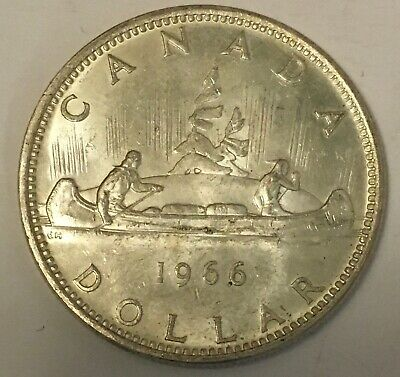 CANADA 🇨🇦1966 ONE SILVER DOLLAR album coin KM#64 FX+    free combined shipping
