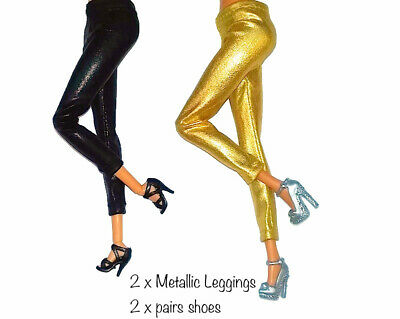 New Barbie doll clothes 2 PAIRS casual metallic stretch pants shoes outfit