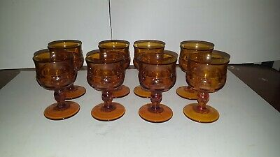 8 Vintage Indiana Glass Amber Kings Crown Thumbprint Juice Wine Goblet 4""