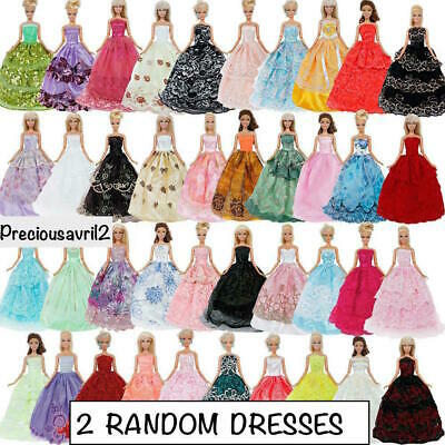 new barbie doll clothes clothing 2 x random evening dress gown princess wedding
