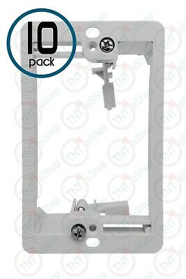 TNT Single 1-Gang Low Voltage Wall Plate Mounting Bracket - White - 10 Pack