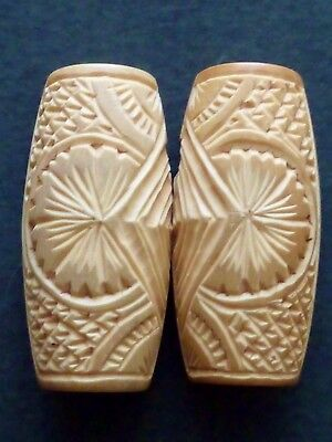Antique HAND CARVED bovine BONE Edwardian dress buckle 2 piece Japanese styling