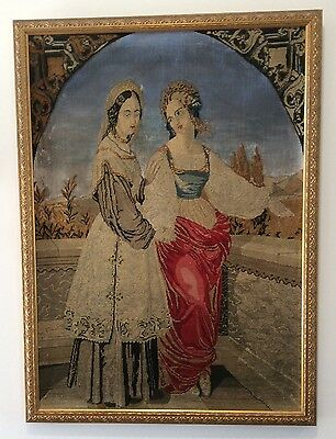 Victorian Needlework Tapestry In Gold Frame