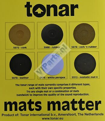 TONAR TURNTABLE MATS Cork -Rubber -Leather -Nostatic -White Perspex ~VIParts.NL~