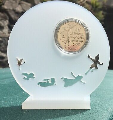 The Official 2019 🇮🇲 Peter Pan 50p Unc Capsuled In A Beautiful Stand