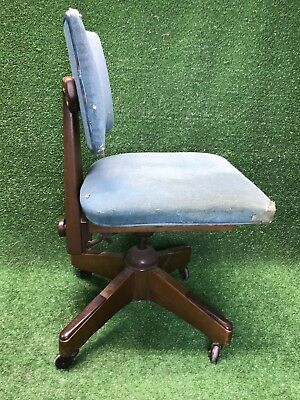 VINTAGE WALNUT B.L. MARBLE CHAIR CO. OFFICE SWIVEL BANKERS LAWYERS! 1953 wow