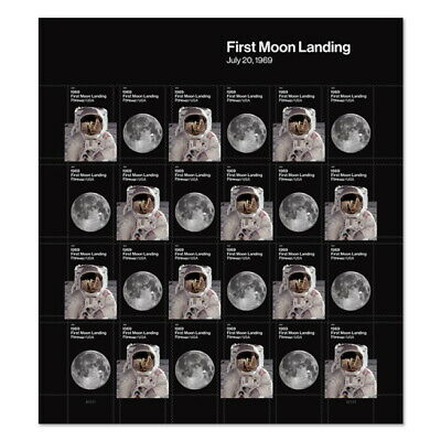 USPS Forever Postage Stamps '1969: First Moon Landing' full sheet of of 24