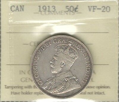 1913 Fifty Cents ICCS Graded VF-20 * HIGH Grade SCARCE Date George V Canada Half