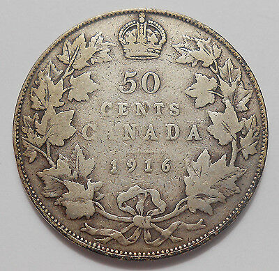 1916 Fifty Cents VG+ Very NICE Better Date Early King George V WWI Canada Half