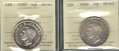 1946 & 1949 Fifty Cents ICCS MS-63 ** STUNNING George VI PQ TONED Canada Halves