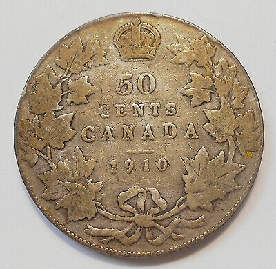 1910 VICTORIAN LEAFS Fifty Cents VG+ Most SCARCE Variety Edward VII Canada 50¢