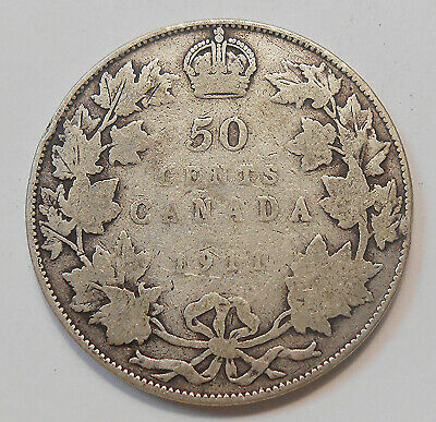 "1911 Fifty Cents G-VG ** SCARCE Date ""GODLESS"" 1st King George V KEY Canada 50¢"