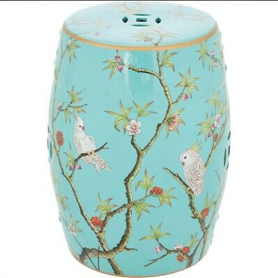Parrot Barrell Stool Side Table Flower Stand Garden Seat Flowers Stoneware