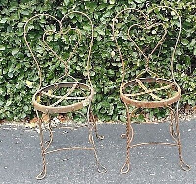 Vintage Ice Cream Parlor Chairs Twisted Metal Set Of 2