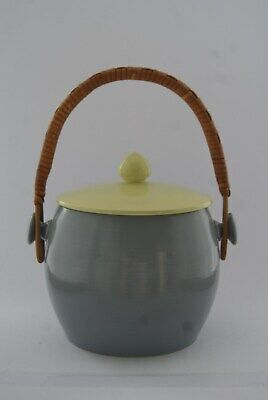 Vintage Poole Pottery Biscuit Barrel Twin Tone Moonstone Grey Lime Yellow C102