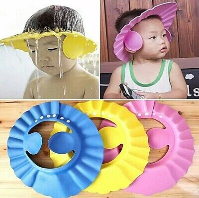 Adjustable Baby Kids Children Bathing Shower Cap Hat With Ear Cover