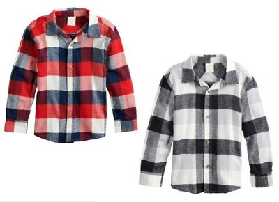 Jumping Beans Little Boys Long Sleeve Button Up Plaid Flannel Shirt NWT  4 or 5