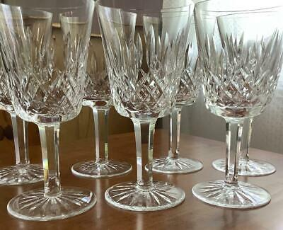 7 Mint Waterford Crystal Lismore Water Wine Goblets Glasses 8 Oz 6 7/8""