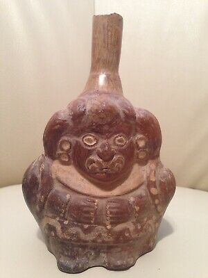 PRE-COLUMBIAN MOCHE STIRRUP VESSEL/GOD Ai APEC/CERTIFICATE OF AUTHENTICITY/PERU