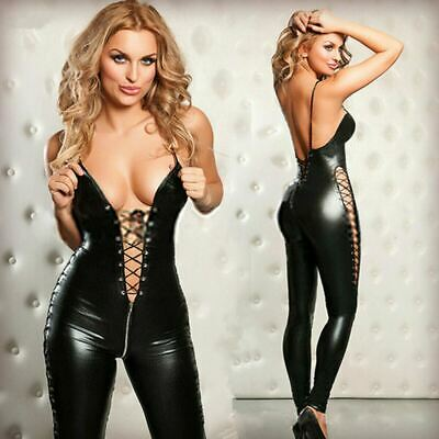 Latex Overall lack Catsuit leder Anzug Damen Bodys sexy Sexspiel Party SM