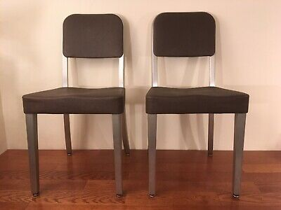 Pair MCM Industrial Brushed Aluminum Vinyl Upholstered Side Chairs