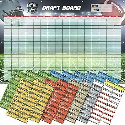 Fantasy Football Draft Board 2019 Kit - Heavy Duty 3-Feet x 5-Feet Vinyl