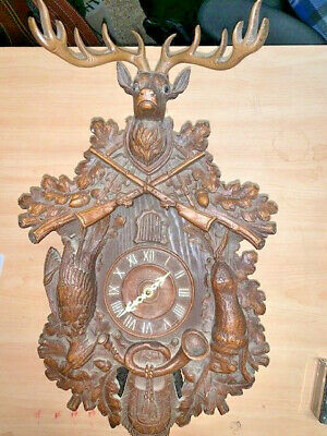 "Vintage De Lux Hunter Cuckoo Clock 2 Weight Deer Rabbit 17"" Tall"