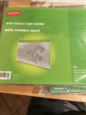 New Staples Horizontal Advertisement Wall Mount Sign Holder 11in/po X 8 1/2 In
