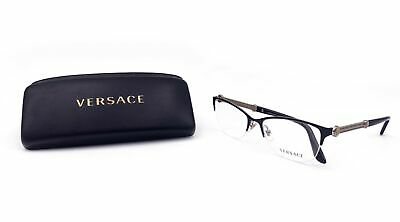 92a3c2bfefbe VERSACE Women's Gold Half Rimless Glasses with case MOD 1228 1291 53mm