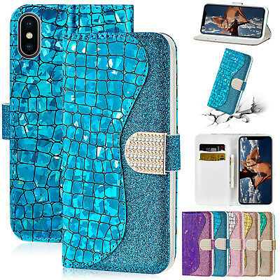 For iPhone 8 Plus 7 6 6S XR XS Max Case Bling Magnetic Leather Flip Wallet Cover