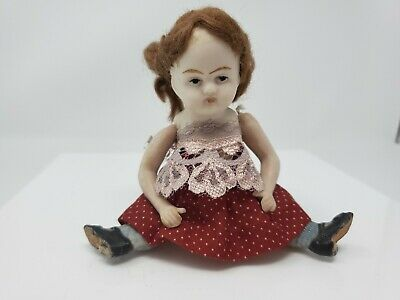 "Antique all Bisque Parian German mignonette doll 5.5"" for dollhouse Heeled Shoes"