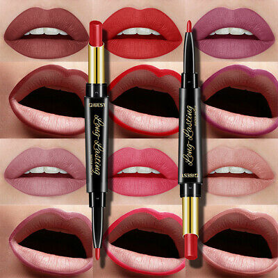 ALS_ 2 in 1 Double Ended Rotary Long Lasting Matte Lip Liner Lipstick Makeup cos