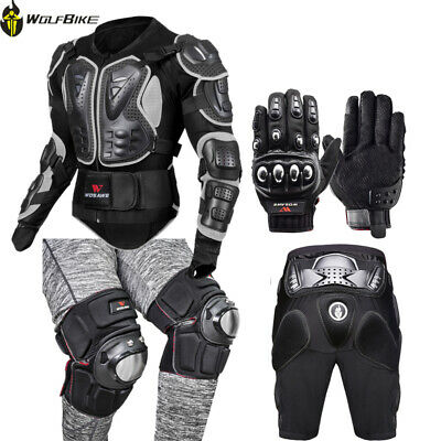 Motorcycle Body Armor Jacket Shorts Gloves Knee Guards Motorbike Protective Gear