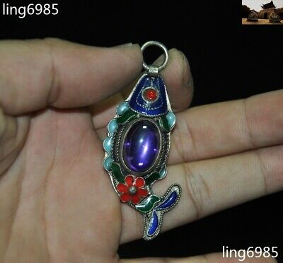 Chinese Feng Shui Tibetan silver Cloisonne Inlay Gem Lucky Fish Amulet Pendant
