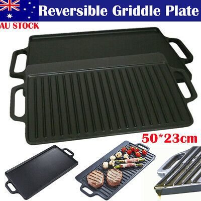 Heavy Duty Cast Iron Square Griddle Pan Pre Seasoned Cooking Frying Skillet Pan