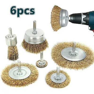 24MM END WIRE BRUSH.DRILL 6MM RUST METAL PAINT DECOKE