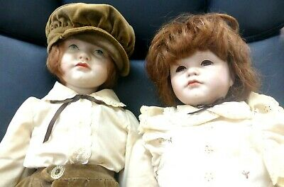 "Vintage Collectible 22"" Porcelain Boy And Girl Doll"