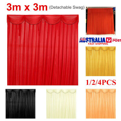 Detachable 3x3M Silk Cloth Wedding Stage Backdrop Curtain Drape Party Decor AU
