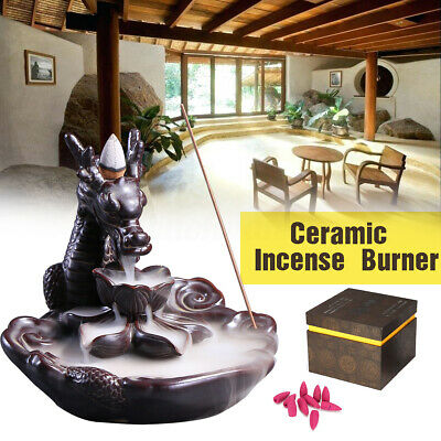 Dragon Ceramic Backflow Incense Burner Smoke Cones Holder Sticks Censer Clay  !