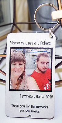 Personalised Polaroid Photo Keyring Memories Anniversary Gift for Husband Wife