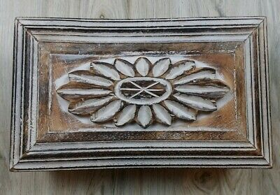 Wooden Carved Box White Brown Old Distressed Decorative storage Jeweler