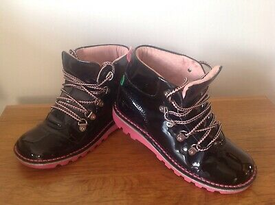 Girls Black Patent Leather Kickers Boots Size U.K 1 Very Good Condition