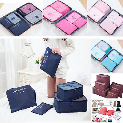 6Set Packing Cubes Travel Pouch Luggage Organiser Clothes Suitcase Storage Bag