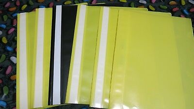 6 X  A4 Flat File With 2 Prong Fastener & Clear Front - Yellow/Black