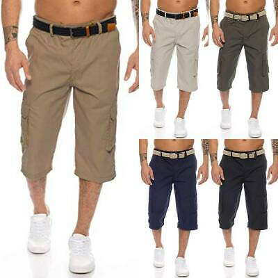 Mens Work Cargo 3/4 Long Length Shorts Pants Elastic Waist Combat Short Trousers