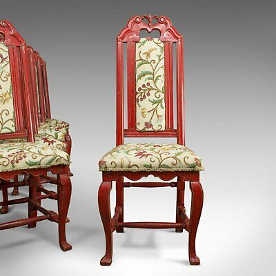 Set of Six Antique Dining Chairs, Continental Painted Kitchen, Needlepoint c1850