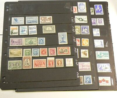 🍁 Canada 100 Stamps Mint Never Hinged from 1940s to 1970s #2412