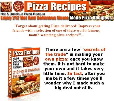 Pizza Recipes PDF eBook With Master Resell Rights MRR | INSTANT EMAIL DELIVERY