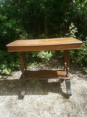 Antique Wooden Console Side Hall Table on Castors